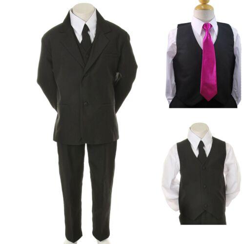 Kid Child Boy Black FORMAL Wedding Party Tuxedo Suit Fuchsia Necktie sz 5-14