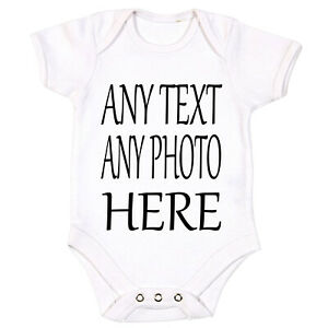 Your Text Here Name Baby Vest Grow Bodysuit Personalised Gift Any Name IMAGE