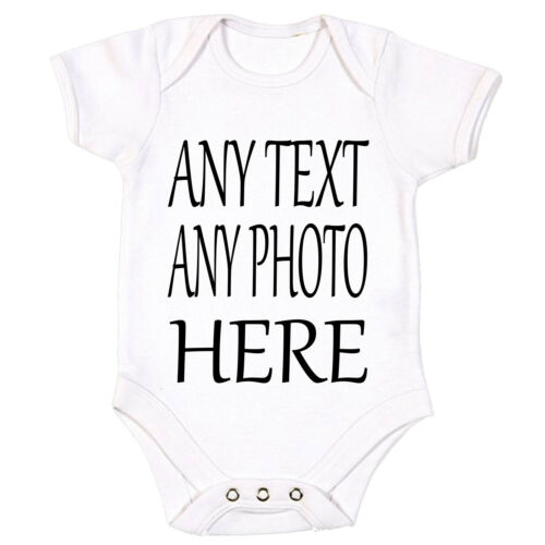 Your Text Here PHOTO Baby Vest Grow Bodysuit Personalised Gift IMAGE Name NEW