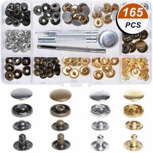 165x-Knoepfe-Druckknoepfe-Set-Metallknoepfe-Naehfrei-mit-Werkzeug-fuer-Stoff-Leder