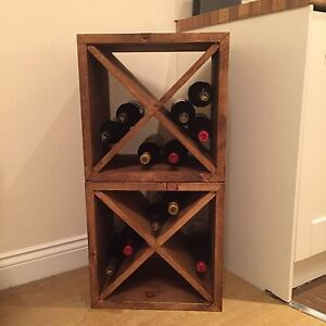 Image Is Loading Rustic Wine Rack Storage Cube Made To Any