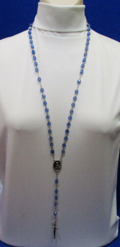 Vintage Silvertone Metal Blue Beads Prayer Rosary Necklace St. Joseph Jewelry