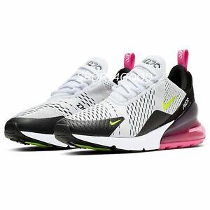 Nike Air Max 270 White/Black/Laser Fuchsia/Volt Men's Shoes Sz 12 [AH8050-109]