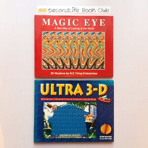 MAGIC-EYE-amp-ULTRA-3-D-3D-Illusions-N-E-Thing-Enterprises-Mythical-Flight