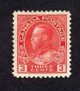 Canada #109 3 Cent Carmine King George V Admiral Issue Ink on Back MH