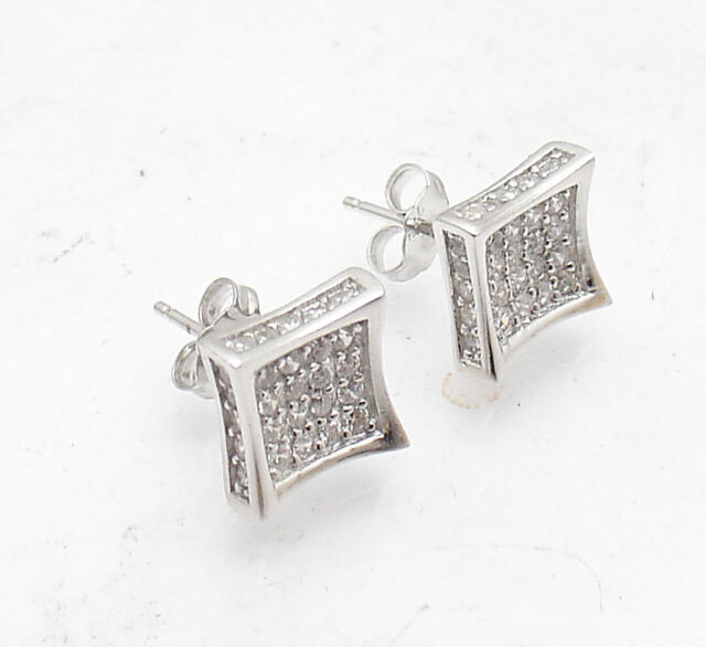 10mm Uni Kite Square Clear Cz Pave Stud Earrings Real 925 Sterling Silver