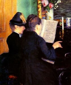Details about THE PIANO LESSON WOMEN PLAYING MUSIC 1881 FRENCH PAINTING BY  CAILLEBOTTE REPRO