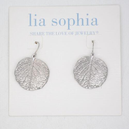 Lia Sophia Bijoux Ton Argent Motif Cercle Feuilles Pendentif Boucles D/'oreilles Créoles Goutte