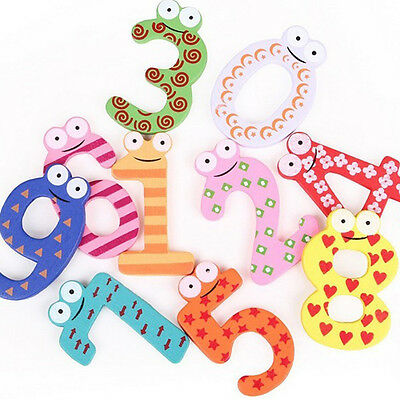Set Of 10 Numbers Cartoon Educational Toy Wooden Fridge Magnet For Baby Kid Toys