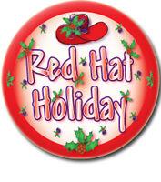6 Red Hat Holiday Design 3 Buttons Favor For Red Hat Ladies Of Society