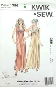 Kwik-Sew-1386-women-039-s-long-nightgown-knit-stetch-fabric-Sewing-Pattern-Uncut