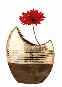 Moderne Deko Vase Blumenvase aus Keramik gold/braun Höhe ...