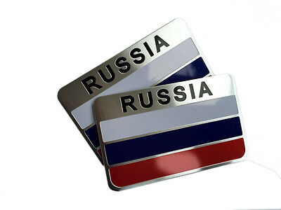 Auto car Metal Russia Russian Federation Flag Emblem Badge Sticker For 2 pcs