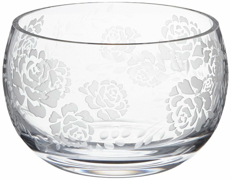 New in Box Lenox Marchesa gravé rose en cristal Grand Bol Vase desservant 7.5