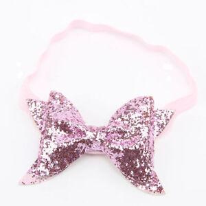 Newborn-Baby-Glitter-Girls-Toddler-Sequin-Hair-Band-Pink-Bow-Headband-Headwear