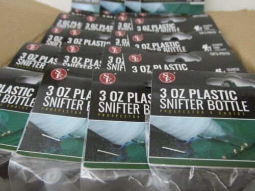 BOX OF 20 SNUFFER SNIFTER BOTTLES Gold Panning 3 Ounce Plastic Prospecting