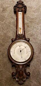 Antique-English-Victorian-Ornate-Carved-Walnut-Wall-Barometer-J-Hicks-London