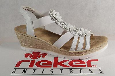 Rieker Damen Sandalen Sandaletten Sandale Sandale weiß 61949 hAORT