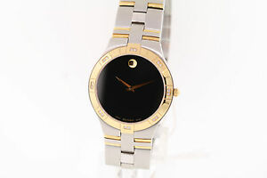 ca71ca43680 Men s Movado 0605722 JURO Black Dial Two-tone Stainless Steel ...