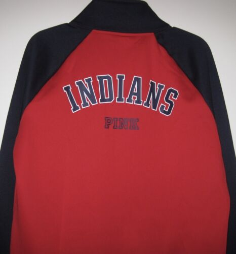 VICTORIA/'S SECRET PINK MLB CLEVELAND INDIANS SEQUIN TRACK FLEECE LINED JACKET