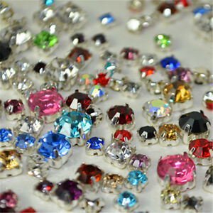 Mixed Sizes Colors Sew On Rhinestones Settings Claws Crystal Sewing 200ps