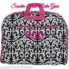 Personalized Garment Bag tote Damask Print pink trim monogrammed dress hanging