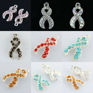 Wholesale Crystal Rhinestone Ribbons Cancer Disease Awareness Pendant Charms