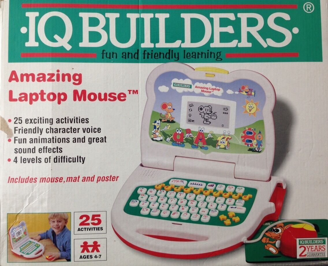 New Rare 1990s Iq Builders Electronic Talking Laptop Mouse Lcd Screen Computer