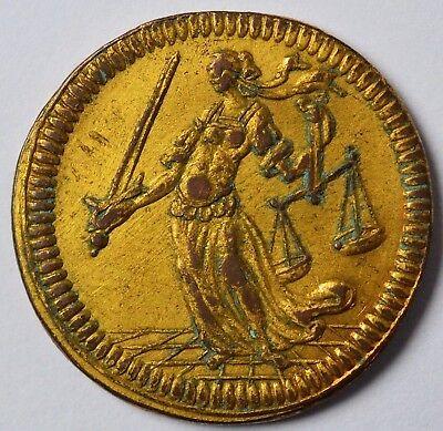 Ehrlich Medaille Kupfer Vergoldet Regensburg Ratszeichen Stadtgericht 1673 Dm. 2,3 Cm