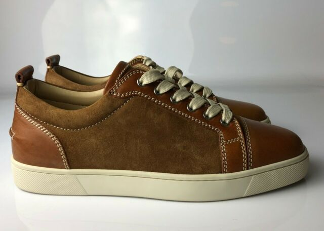 timeless design 5b46f cf6a6 Christian Louboutin Louis Junior Flat MEN Brown Leather Sneakers Eu 42.5 US  9.5