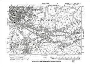Old map of Warrington (SE), Lancashire 1908: 116NW repro | eBay