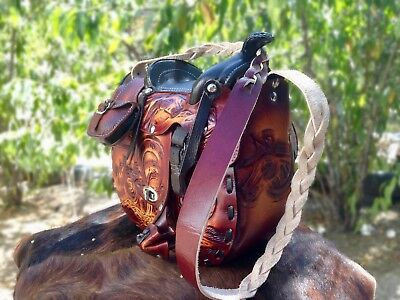 Rustic Womens Brown Leather Tooled Handcrafted western horse Saddle Bag Genuine