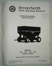 Brent Unverferth 235 275 325 335 Grain Gravity Box Wagon Operatorsparts Manual
