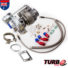 T3 T4 Turbo .63 A/R Oil Hybrid V Band Universal Turbo + Oil Line Kit 420BHP