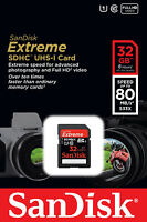 Sandisk Extreme 32gb Sdhc 80 Mb/s 533x Uhs-1 Sd Class 10 Memory Card 32 Gb