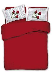 Lenzuola Matrimoniali Con Rose Rosse.Dettagli Su Completo Lenzuola Matrimoniale 2 Piazze Rose Rosse Note Pentagramma Rosso