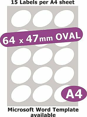 64x47mm Oval 75 Etikett Matt Weiß Papier 5 A4 Laser Kopierer Inkjet Aufkleber