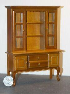 Dollhouse-Miniature-Kitchen-Hutch-Cabinet-Walnut-1-12-scale-P45-Dollys-Gallery