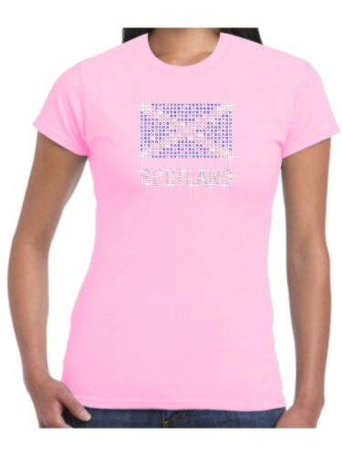 Scotland T Shirt St Andrews Flag with Sparkling Crystal and Sapphire Rhinestones