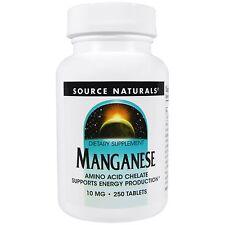 Source Naturals Manganese - 10mg - 250 Tablets - Amino Acid Chelate