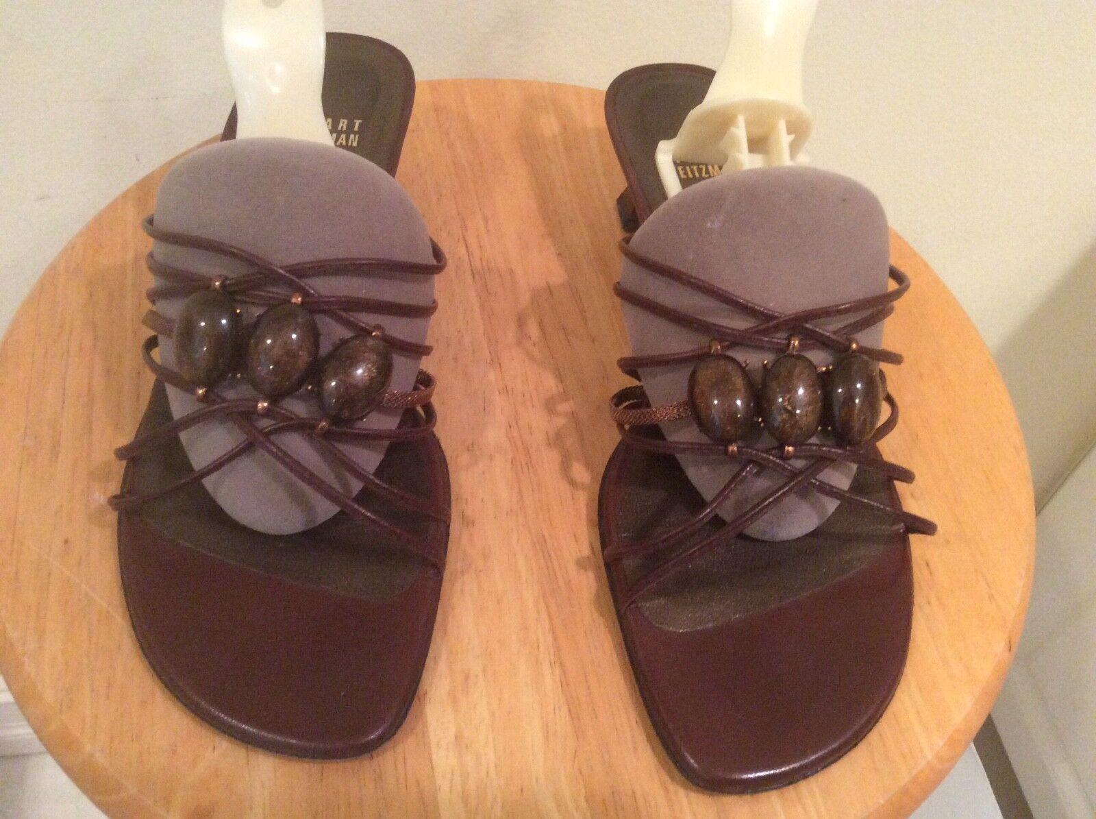 Stuart Weitzman shoes Slides Bronzr leather 3 jewel accent a Women's Sz 7M EUC