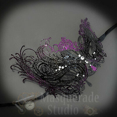 Purple Glitter Womens Beautiful Swan Filigree Venetian Black Masquerade Mask