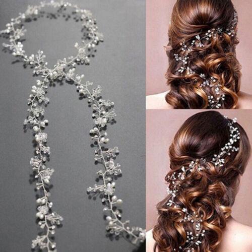 Women 50cm pearl rhinestone headbands wedding hair vine bridal accessories ZJP