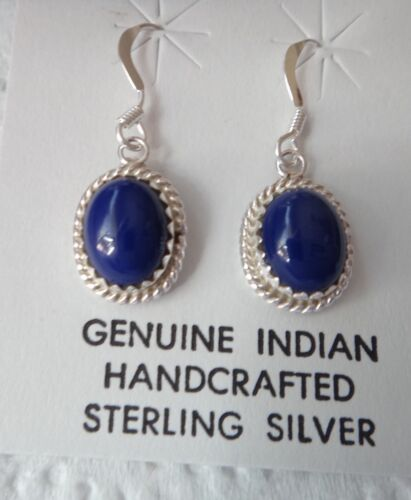 Sterling Silver 26x10mm Decorated Oval Lapis Wire Navajo Handcrafted Earrings