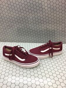 prevalent browse latest collections performance sportswear Details about VANS Old Skool Burgundy Canvas Lace Up Skate Shoes Men's Size  5.5 Women's 7