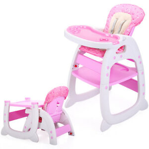 3-in-1-Baby-High-Chair-Convertible-Play-Table-Booster-Toddler-Feeding-Tray-Pink