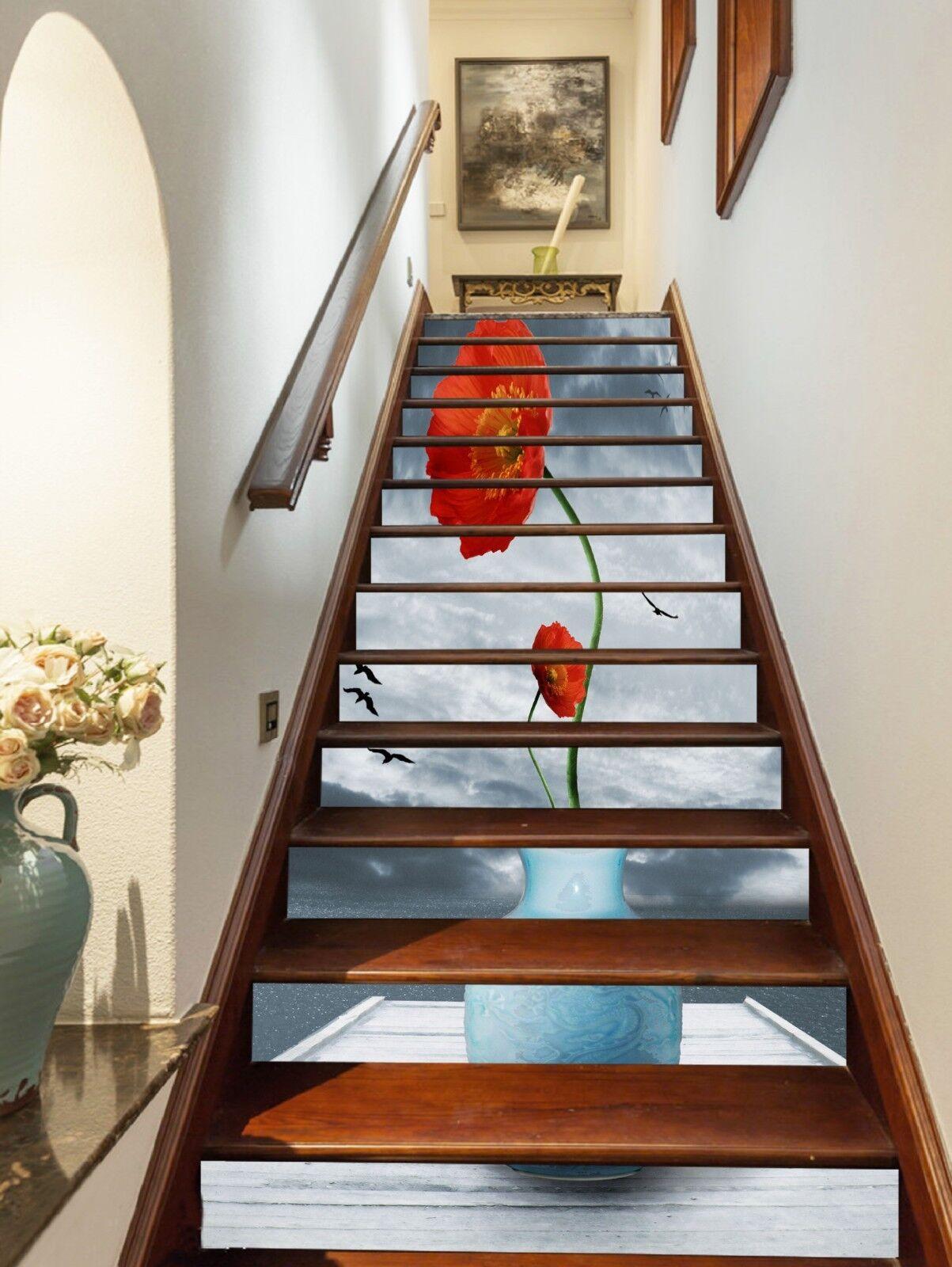 3D rouge flower sky Stair Risers Decoration Photo Mural Vinyl Decal Wallpaper AU