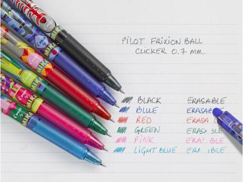 4 x Pilot FriXion CLICKER 07 MIKA design Erasable RT Pens Black//Blue//Red//Green