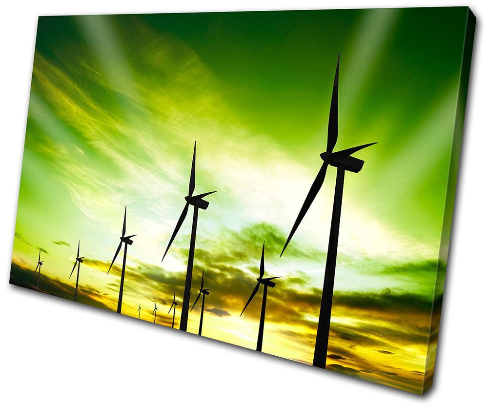 Landscapes  Wind TOILE turbines eco SINGLE TOILE Wind murale ART Photo Print e3274c