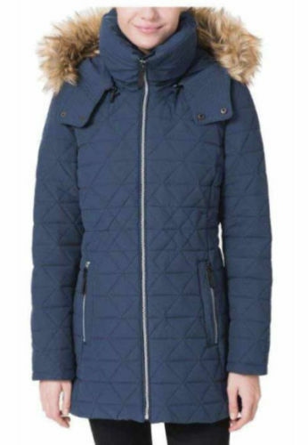 NEW Andrew Marc New York Quilted Coat With Faux Down Hood, Navy, Size Small